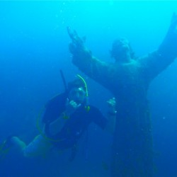 TJ SCUBA diving with Christ of the Abyss at Dry Rocks Coral Reef